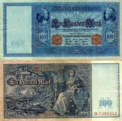 GERMANY 100 MARK BANKNOTE 1910 IMPERIAL EMPIRE WWI CURRENCY MONEY WWII WW2