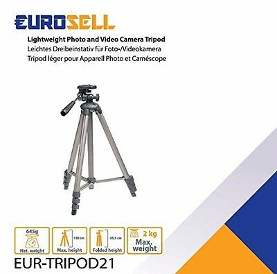 Eurosell 130cm Tripod21 Kamerastativ - Alu Dreibein Foto Video Kamera Stativ NEU