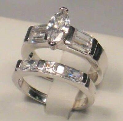 3 Ct Marquise Baguette Diamond Engagement Ring Set White Gold Platinum finish