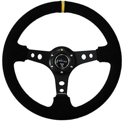 NRG Steering Wheel 350mm 06 Black Suede Deep Dish (BLACK Stitches Yellow Stripe)