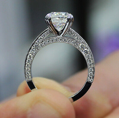 2.10ct. Natural Cushion Cut Pave Milgrain Diamond Engagement Ring GIA Certified