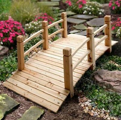5 FOOT Outdoor Decorative Wood GARDEN BRIDGE WITH RAILS Lawn Landscaping