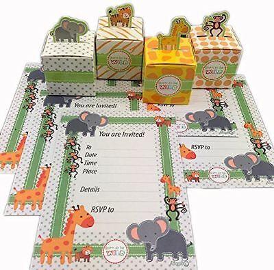Jungle Animal Theme (Safari Jungle Animal Theme Baby Shower Invitations & Treat Boxes Set)