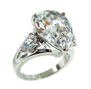 the look of real 5ctw pear clear cubic zirconia ring bridal