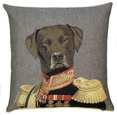 belgian tapestry pillow cushion cover dressed up chocolate labrador