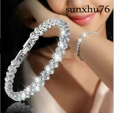 HOT Fashion Women Girls White Jewelry 925 Silver Charm Bracelet Bangle Sapphire
