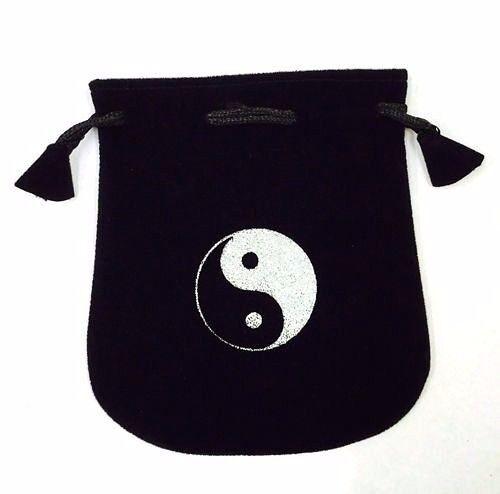 "Black Velvet Bag / Pouch 5"" x 5"": Ying Yang (Wicca Talisman Drawstring)"