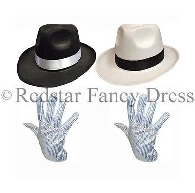 Michael Jackson Handschuh Kostüme (Deluxe Michael Jackson Hut & Pailletten Handschuh Kostüm Gangster Al Capone)