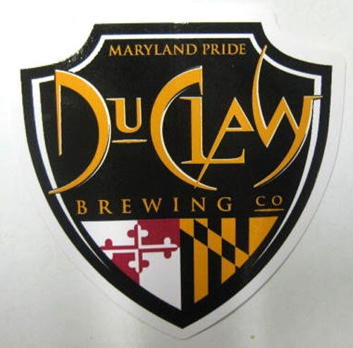 DUCLAW BREWING CO., MARYLAND PRIDE 3 X 3 1/8 Beer chevron STICKER with MD Colors