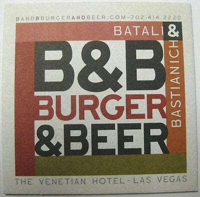 B&B BURGER & BEER RESTAURANT beer Coaster, MAT Venetian Hotel, Las Vegas, NEVADA