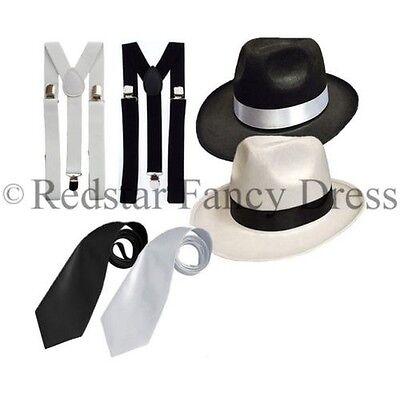 Gangster Hut Krawatte & Hosenträger Satz Filzhut Al - Al Capone Gangster Kostüm