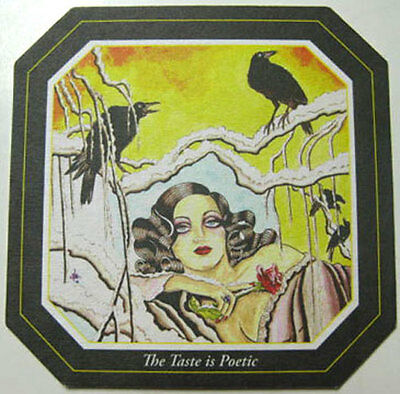 THE RAVEN Beer COASTER, Mat with BIRD & WOMAN, Baltimore, MARYLAND 2010
