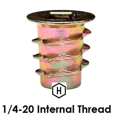 E-Z LOK 1/4-20 Flanged Die Cast Zinc Hex-Drive Threaded Insert for Wood (50 Pcs)