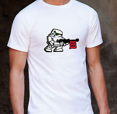 - Star Wars Pew! Pew! Stormtrooper White Unisex T-Shirt Size EXTRA LARGE