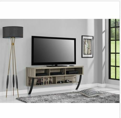 "Wall Mount TV Open Shelves Console Floating Stand 60"" Media"