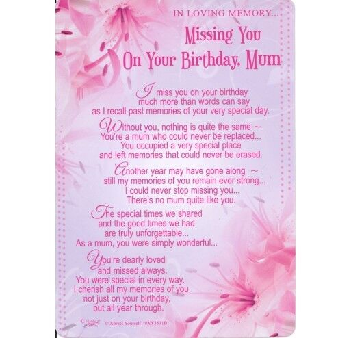 Strange Graveside Card Missing You On Your Birthday Mum Memory Grave Verse Funny Birthday Cards Online Elaedamsfinfo