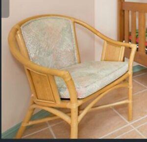 Cane furniture blue and natural cane colour