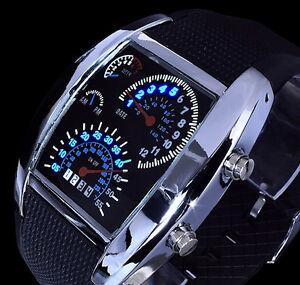 Digital Herren Uhr Armbanduhr - blaue Led' s in Tachometer Optik Blaues Licht 3