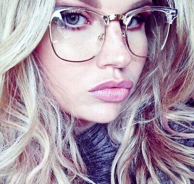 Retro Design Square Clear Transparent Top Metal Aviator Eyeglasses Frames 9329 (Top Designer Glasses)