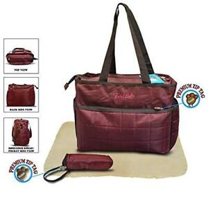 Todd Baby 3 Pc Quilted Bottle Holder Set Diaper Nappy Changing Stylish Designed Strap Baby-Care Shoulder Bag (Maroon)