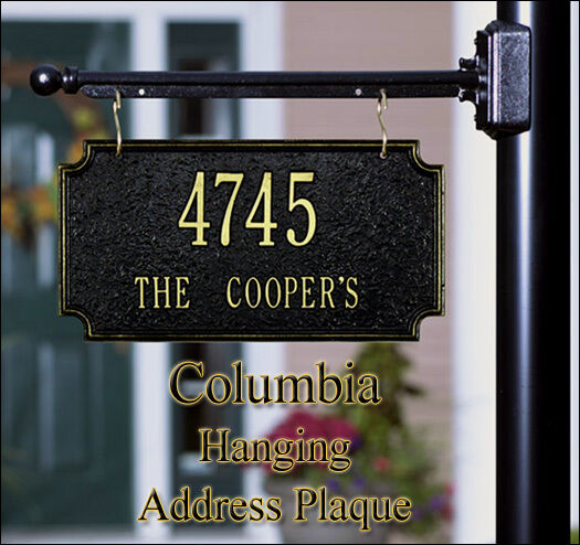 Whitehall columbia 2 sided hanging address sign personalized plaque in 17 colors