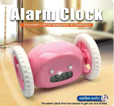 New LCD  Screen Display  Clocky Alarm Clock  With  Wheels  Moving Run Clock   on Rummage