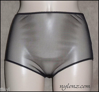 Vintage Style Completely Sheer Transparent Nylon FULL CUT Panties BLACK
