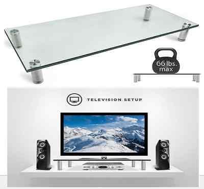 Glass Tv Stand Desk Organizer Computer Laptop Riser Shelf...