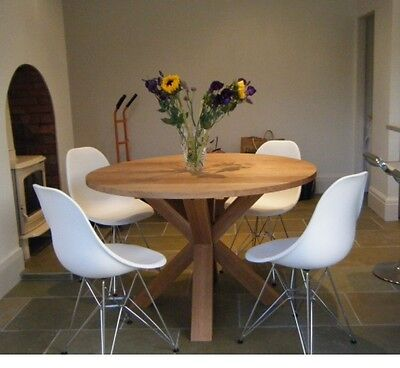 1000mm - SOLID OAK ROUND CROSS LEG TABLE - HAND CRAFTED - MADE TO ORDER