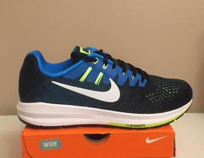 NEW NIKE AIR ZOOM STRUCTURE 20 (4E) 849573 004 MENS SIZE 10 WIDE BLUE BLACK VOLT
