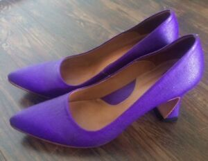 John Fluevog Women's The Desmond Pump Shoes in Purple Canvas 8.5