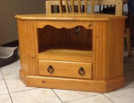 Solid pine corner television unit