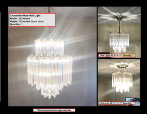 Chic crystal and brass light fixtures.