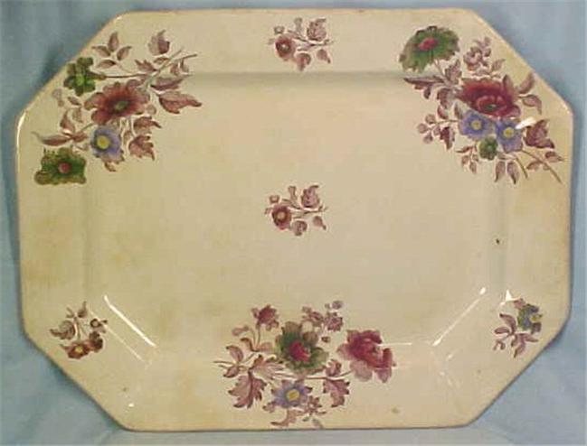 Antique Platter Mulberry Transferware Serving Marone Dresden Flowers 1955 Nice
