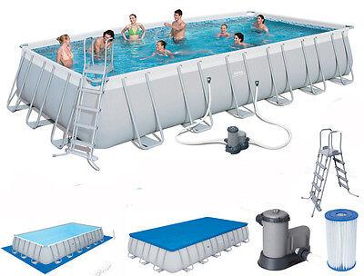 Bestway 24Ft Power Steel Pool Set Swimming Ladder Cover 56474 Rectangular Frame
