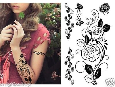 Supperb Temporary Tattoos  - Black Tribal Flowers Elegant Temporary - Tribal Flowers