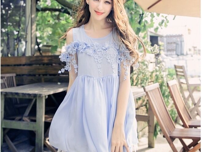 New Yoco Blue Chiffon Babydoll Long Top With Floral Lace