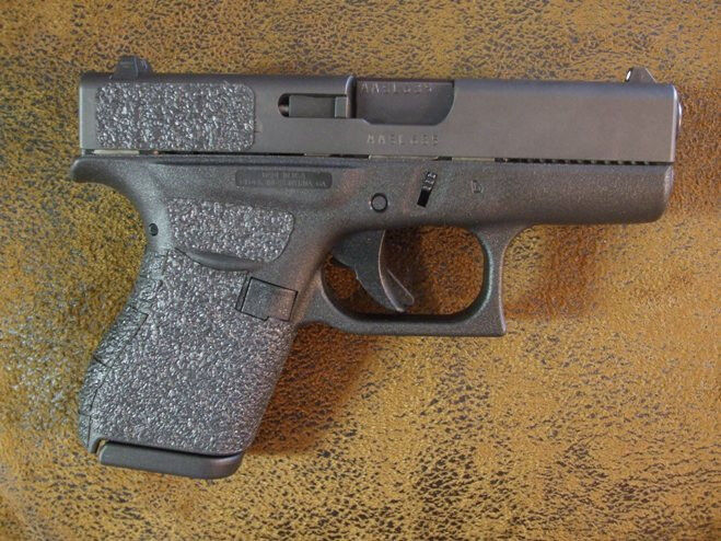 Black Textured Rubber Grips for the Glock 42 .380 Auto