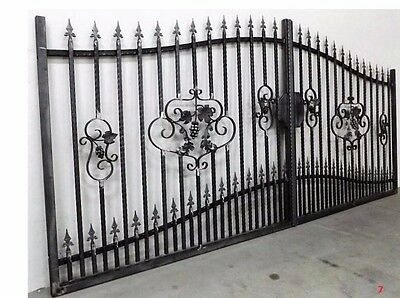Bespoke Solid Wrought Iron Driveway Security Double Gates - Any Size