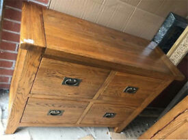 Vancouver Solid Oak Four Drawer Sideboard