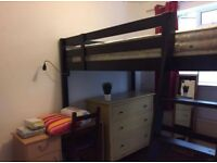 High-rise double bed frame in great condition