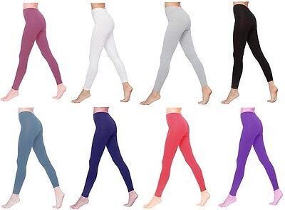 Womens Full Length Cotton Leggings All Colours UK Size 6-28