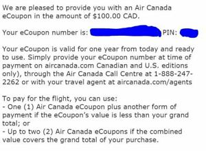 $50 -AIR CANADA DISCOUNT E-COUPONS - $100 Face Value