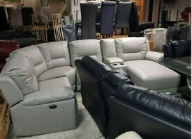 grey leather corner sofa recliner