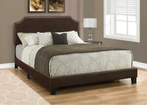 Monarch I 5927Q Contemporary Upholstered Platform Bed - Queen - Dark Brown  (New other)