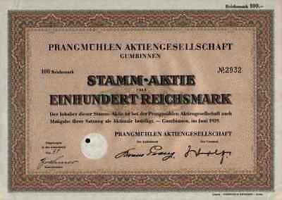 Prangmühlen AG 1939 Gumbinnen Gussew Ostpreussen Wehlau 100 RM heute Russland