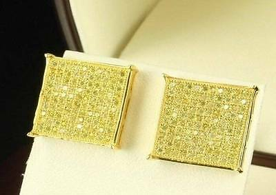 Men's Hip Hop Square Flat Screen 14K Gold Canary Yellow Iced Out Stud Earrings