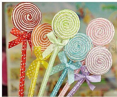 Us 6pcs Kawaii Lollipop Ball Point Pens Fun Cute Bow Lot Sweet Candy Pencil Bow