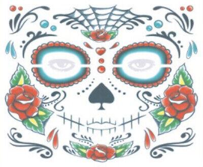 Gesicht tattoo Blumen Face Temporär Totenkopf Fasching Halloween Skull Maske 13 ()