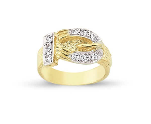 d42769ec8f219 Details about 9CT GOLD BABY CHILDS KIDS CUBIC ZIRCONIA BUCKLE SIGNET CZ  BELT RING GIFT BOX